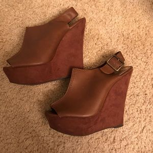 Shoes - Suede/leather wedges. Worn once.